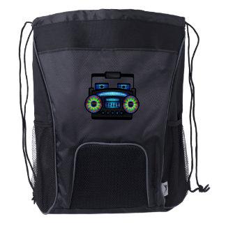 Retro Music Boombox Black Drawstring Backpack