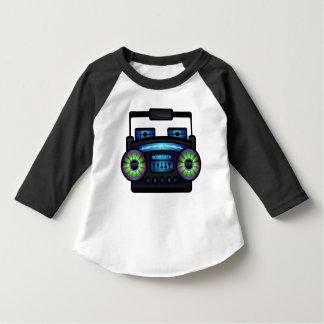 Retro Music Boombox Black & White Raglan Tee