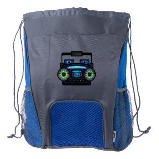 Retro Music Boombox Blue/Grey Drawstring Backpack