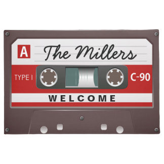 Retro Music Cassette Look with Welcome Family Name Doormat