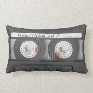 Retro Music Cassette Mix Tape Look Custom Text Lumbar Pillow