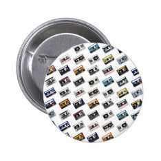 Retro Music Cassette Tapes Pinback Button at Zazzle