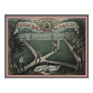 Retro Music Cover Baseball Game Postcard