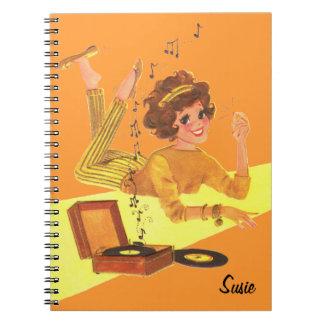 Retro Music Girl Notebook