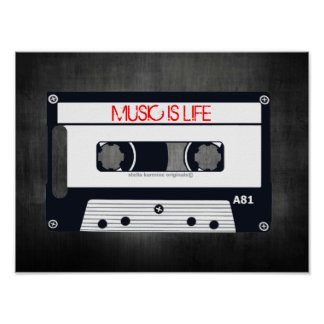 "RETRO ""MUSIC IS LIFE"" POSTER - POP ART CASSETTE"