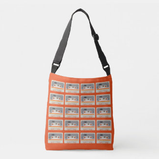Retro music lover cassette graphic pattern crossbody bag