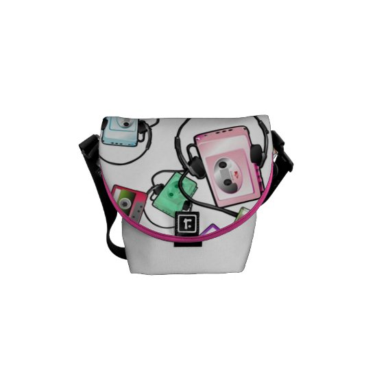 Retro Music Mini Messenger Bag (white)