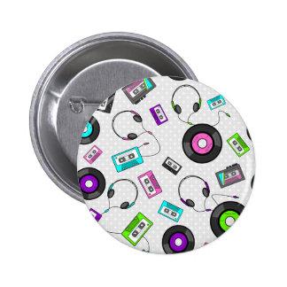 Retro Music Pattern 2 Inch Round Button