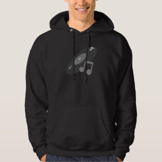 Retro Music Record & Note Grey Hoodie
