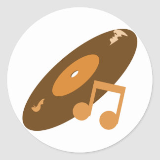 Retro Music Record & Note Orange Classic Round Sticker
