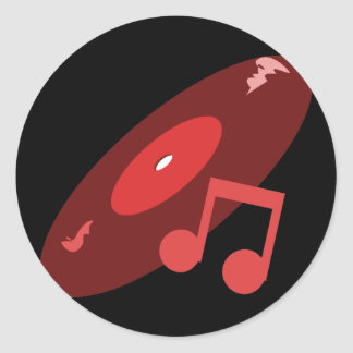 Retro Music Record & Note Red Classic Round Sticker