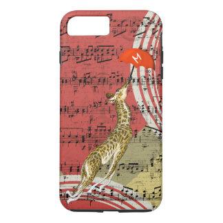 Retro Musical Flying Giraffe Red Umbrella iPhone 7 Plus Case