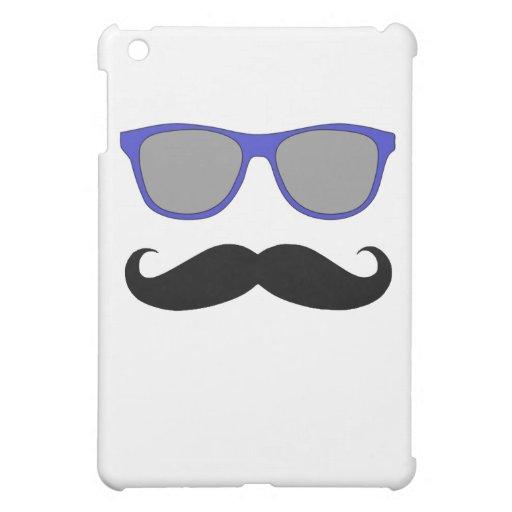 RETRO MUSTACHE AND BLUE SUNGLASSES iPad MINI CASES