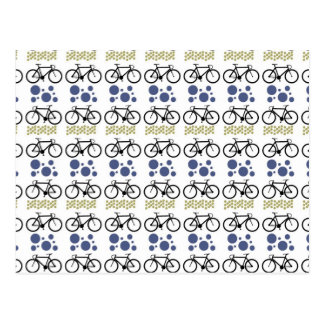 Retro Mustache Bicycle Pattern - Very Fun! Postcard