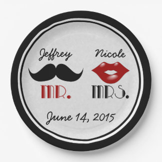 Retro Mustache Custom Wedding Paper Plate