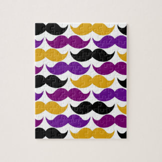 Retro Mustache Handlebar Colorful Pattern Jigsaw Puzzles