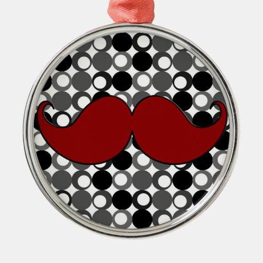 Retro Mustache Moustache Round Metal Christmas Ornament