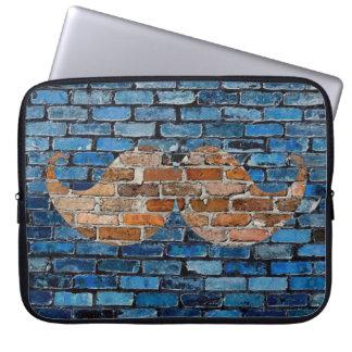 Retro Mustache Moustache Stache on Brick Wall Laptop Computer Sleeve