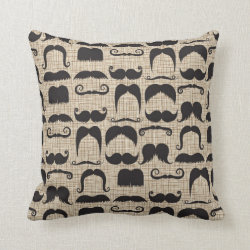Cotton Throw Pillow with Mustache Patterns design