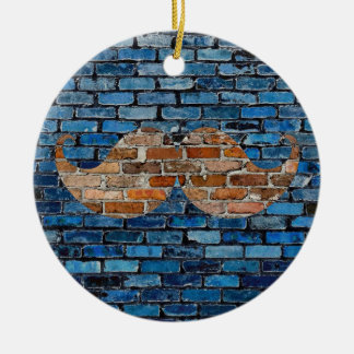 Retro Mustache on Brick Wall Christmas Ornament