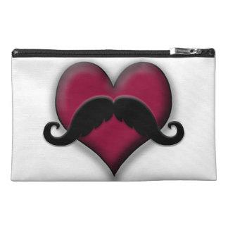 Retro Mustache on Heart Travel Accessory Bags