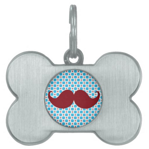 Retro Mustache on Polka Dot Background Pet ID Tag
