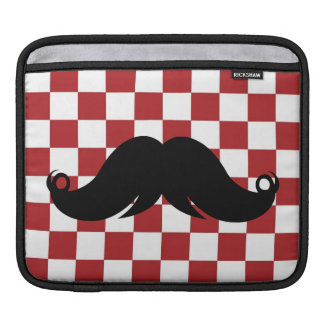 Retro Mustache on Red Checkerboard Sleeve For iPads