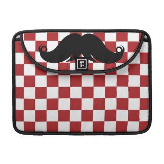 Retro Mustache on Red Checkerboard MacBook Pro Sleeves