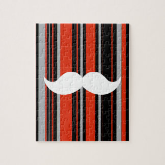 Retro Mustache Party Orange Stripes Puzzles