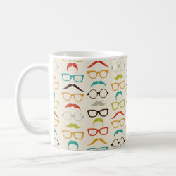 Classic White Mug with Mustache Patterns design