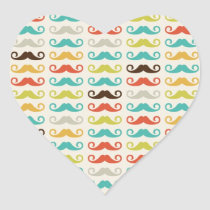 Retro Mustache Pattern Heart Sticker