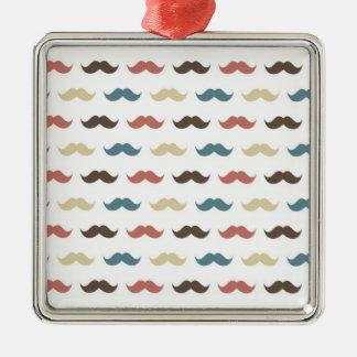 Retro Mustache Pattern in Multi Colors Square Metal Christmas Ornament