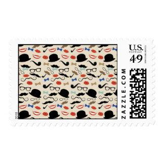Retro Mustache Pattern Postage Stamp
