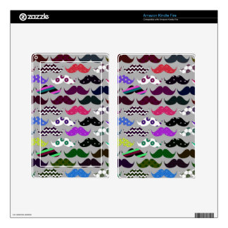 Retro Mustache Pattern Skins For Kindle Fire