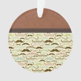 Retro Mustache Pattern with Brown Leather
