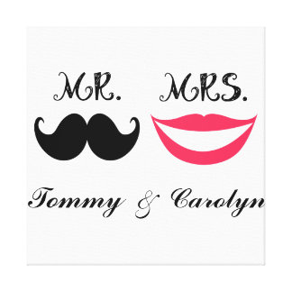 Retro Mustache Personalized Custom Room Wall Decor Stretched Canvas Prints