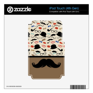 Retro Mustache Skin For iPod Touch 4G