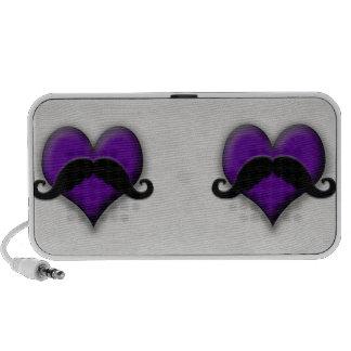Retro Mustache Stache Heart Handlebar Travelling Speaker