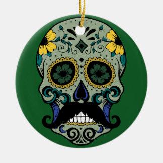 Retro Mustache Sugar Skull Ceramic Ornament