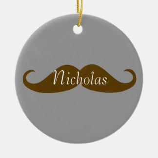 Retro Mustache with Name Ceramic Ornament