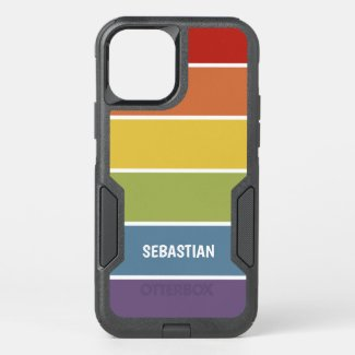 Retro Muted Color Rainbow Personalized OtterBox iPhone Case