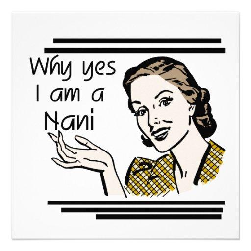 Retro Nani T-shirts and GIfts Custom Invitations