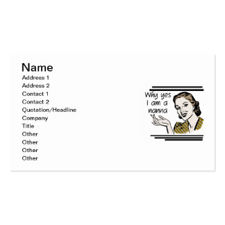 Retro Nanna T-shirts and Gifts Business Card Template