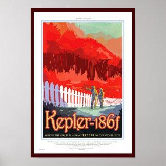 Retro NASA Travel Poster - Kepler 186f