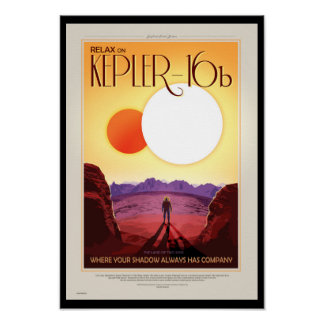 Retro NASA Travel Poster - Relax on Kepler 16b