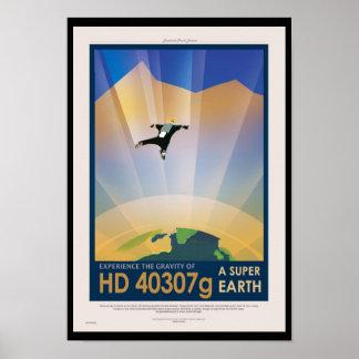 Retro NASA Travel Poster - Super Earth