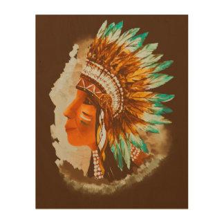 Beau Retro Native American Indian Shief Wood Wall Art