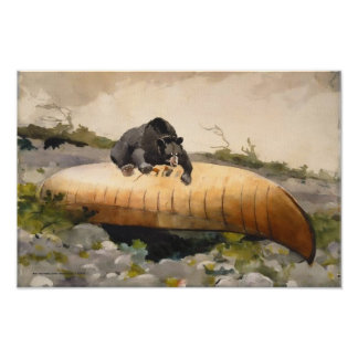 Retro Nature Art Bear with a Canoe Poster