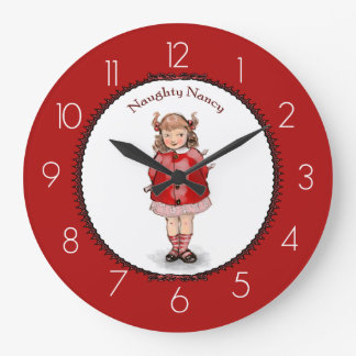 Retro Naughty Nancy Large Clock