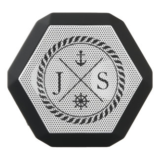Retro Nautical Anchor Monogrammed Black Bluetooth Speaker